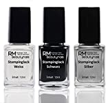 Stampinglack Set 3x12ml Weiss Schwarz Silber Stamping Lack Nagellack Nail Polish RM Beautynails