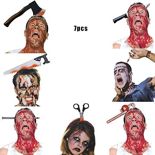 YHOOEE Scary Broma Toy Halloween Party Decoraciones Kids Evento Festivo Suministros April Fool Tricks Nail Through Head Juguetes Plásticos 7PCS