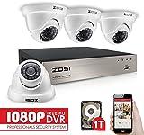 ZOSI 1080P Security CCTV Camera Systems w/1TB Hard Drive,4CH 1080P Remote Security Camera System (4) 2.0 MP 1920*1080P Outdoor Home DomeSecurityCameras