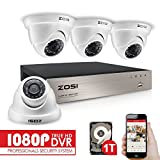 ZOSI 1080P Security CCTV Camera Systems w/1TB Hard Drive,4CH 1080P Remote Security Camera System (4) 2.0 MP 1920*1080P Outdoor Home Dome Security Cameras