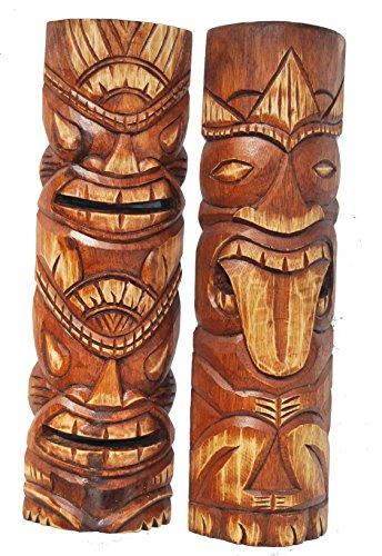 2-pieza-Tiki-Mscara-50-cm-en-Hawaii-Style-2-unidades-Madera-Mscara-pared-Mscara-Isla-de-Pascua