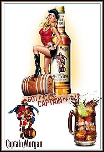 Captain Morgen Spiced Rum Pirat Piratin Spiced Gold Alkohol Schild aus Blech, metallsign, Tin