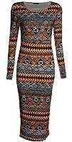 Fast Fashion - Midi Manches Longues Aztèque Tribal Impression Viscose Robe De Jersey Moulante - Femmes