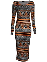 Fast Fashion - Midi Manches Longues Aztèque Tribal Impression Viscose Robe De Jersey Moulante - Femmes