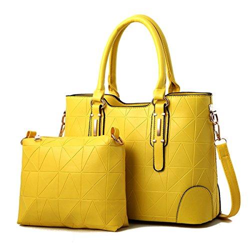 ZPFME Womens Umhängetaschen Sets Mode Umhängetasche Elegant Shopper Leder Party Retro Damen Tasche Yellow
