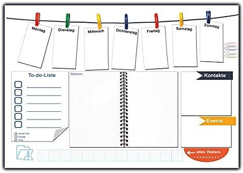 Schreibtischunterlage aus Papier zum Abreißen mit To-do-Liste Schreibunterlage Notiz-Feld Wochenplan Denkzettel