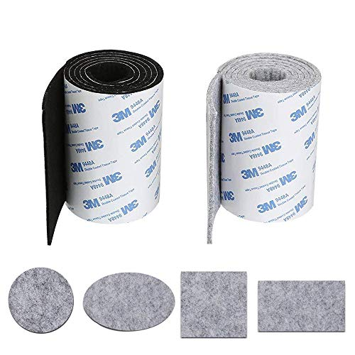 KINDPMA 2 Rollo Cinta Fieltro Adhesivo Antideslizante Almohadillas Fieltro Adhesivo Muebles para Protección Muebles Florero Madera Piso Mesa Silla Cama Armario Negro Gris 100 CM * 10 CM* 3MM