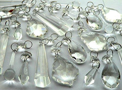 Auswahl an verschiedenen Kronleuchter-Verzierungen, Bundle-Sets in transparenten oder bunten, geschliffenen Glaskristalle in Tröpfchen- oder Perlenstil, vewendbar als Christbaumschmuck, für eine Vintage-Hochzeit, als Anhänger, Tischdekorationen, Prismen, antike Qualitätskunst-Deko. Retro-Perlen-Ersatz, Lichtkunst, Party -Utensilien, ausgesuchtes Bundle-Set von Seear Lights. Art Deco SHAPE CLEAR25 (Eiszapfen-stil, Licht)