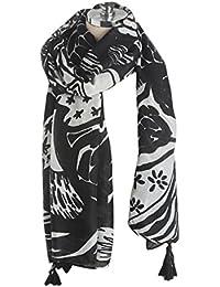 TOPSTORE01 Écharpe Châle Noir et Blanc Foulard Chaud Étole Chic Femme Hiver 21609540a47
