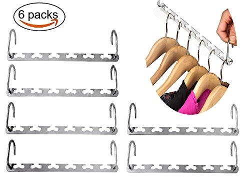 Foto de Joyoldelf 6 perchas de acero inoxidable para colgar en armarios, organizador de ropa, ahorra espacio, diseño con forma de corazón