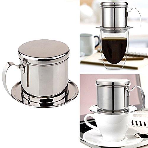 Edelstahl-Kaffeemaschine aus Vietnam mit Griff, 1 x Kaffeetasse mit Griff, Kaffeetropfbrauer für...