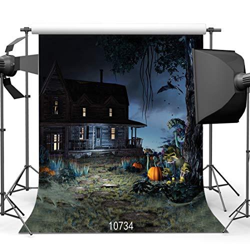 Fondale fotografico in vinile con pipistrelli e zucche di halloween, 3 x 3 m, 10734