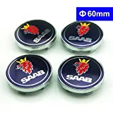 LLCWER 4pcs 60mm Car Wheel Center Caps Hub Cover Hub Center Caps Car Decoration Car Styling For Saab 9-3 9-5 9-2x 9-5x