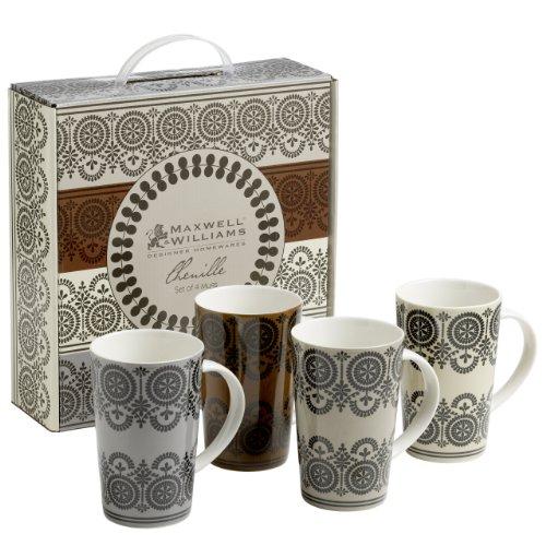 Maxwell & Williams XF0100 Bechersets Becherset, Kaffeebecher, Chenille, 4-teilig, 400 ml, in Geschenkbox, Porzellan