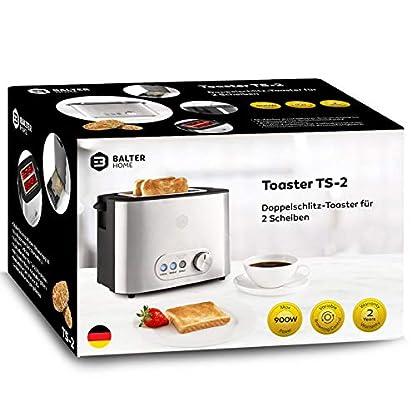Balter-Toaster-2-Scheiben–Brtchenaufsatz–Auftaufunktion–Brotzentrierung–Krmelschublade–Edelstahlgehuse–Farbe-Silber-Zwei-Scheiben