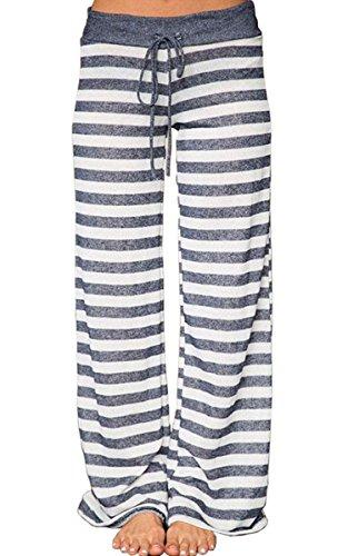 Angashion Damen Weite Bein Lange Hose, Streifen, EU 3XL(44)