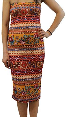 Chocolate Pickle® Neue Damen Trägerlos Boobtube Bodycon Midi Kleid Gedruckt Bandeau Blumen Kleid 36-50 Aztec