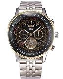 Gute Pro Herren Tourbillon Mechanische Uhr Tachymeter Tag Datum Monat Armbanduhr (schwarz)