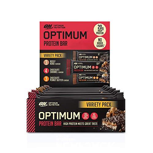 Optimum Nutrition ON Protein Bar Low Carb High Protein Riegel mit Whey Protein Isolate, 20g Eiweiß, ohne Zuckerzusatz, Mix-Box 3 Geschmacksrichtungen, 10 Proteinriegel (10 x 60g)