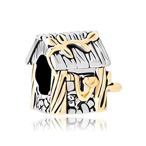 """Uniqueen, ciondolo a forma di casa con scritta in lingua inglese """"family"""", adatto a bracciali con charm e placcato oro, cod. uq_dpc_my727"""