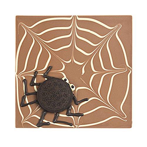 ChocoQuadrat 'Spinnennetz' mit 'Keks-Spinne' - Halloween Geschenke, Halloween Süßigkeiten, Halloween Schokolade, Geschenke zu Halloween