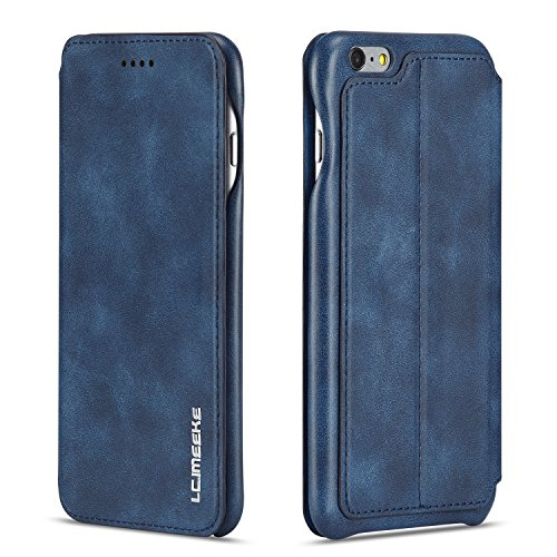 QLTYPRI iPhone 7 8 Hülle, Premium PU Leder Handyhülle Ultra Dünne Ledertasche Magnetverschluss Standfunktion & Kartensfach Wallet Case Flip Schutzhülle für iPhone 7 iPhone 8 - Blau