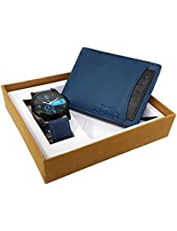 XPRA Blue Analog Watch, Blue & Black Card Removable Genuine Leather Wallet For Men/Boys Combo (Pack of 2) - (WCH-WL-22)