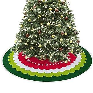 shewt Falda de árbol de Navidad de Fieltro de 48 Pulgadas, 4 tapetes de Diferentes diámetros Patrón de Copo de Nieve Letras de Feliz Navidad Adornos de árbol de Navidad