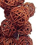 Rattan-Korbbälle, 10Stück, Dekoration für Hochzeiten, Weihnachten, Partys, als Tisch- und Gartendekoration, braun, 5 cm