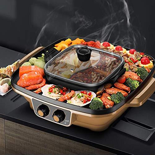 Rauchloser Innengrill Tragbarer Elektrogrill, Elektrogrill Hot Pot Chafing Dish Table Elektrogrill Korean Multi-Purpose Aluminium-chafing Dishes