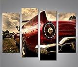 islandburner Bild Bilder auf Leinwand Amischlitten V2 4er XXL Poster Leinwandbild Wandbild Dekoartikel Wohnzimmer Marke