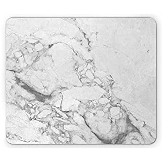 Marble Mouse Pad, Old Fashion Grungy Cultured Marbling Motif Formation Lines Retro Artsy Design Print, Standard Size Rectangle Non-Slip Rubber Mousepad, White Grey