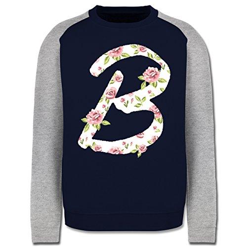 Anfangsbuchstaben - B Rosen - Herren Baseball Pullover Navy Blau/Grau Meliert