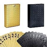 YAASO YAASO Spielkarten Multipack Standard Poker Karten wasserdichte Plastikfolie Kartenset Zaubertricks Werkzeug 2 Decks Gold Schwarz für Männer Frauen Party Game Show