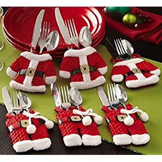 Alisable Santa Suit Christmas Silverware Holder