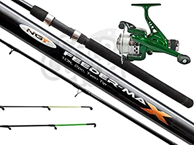 NGT Carp Match Fishing 10ft Feeder Quiver Set up With 2 Tips + Rear Drag Reel by NGT