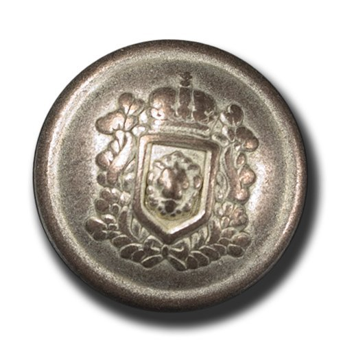 tt altkupferfarbene Wappenknöpfe / wie versilbert / Metall / Ø 25mm (Lorbeerkranz Krone Kostüm)