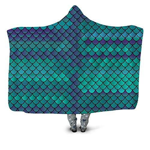 YJZ Fischschuppen 3D Bedruckte mit Kapuze Decke, warme Plüsch TV Decke Sherpa Frauen & Mädchen, warme Geschenk Familienfreund, anpassbar,B,130 * 150cm -