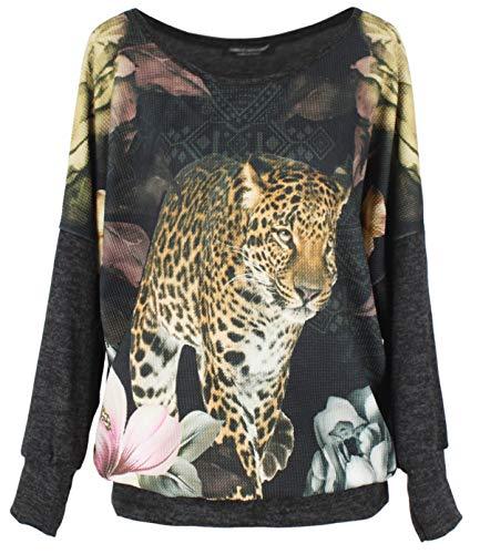 Emma & Giovanni -Top/Camiseta - Mujer (Leopardo, M/L)