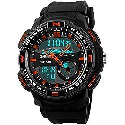 SKMEI SK1109E Herren Armbanduhr, multifunktional, für Outdoor und Sport, mit Kompass, wasserdicht, zweifache Zeitangabe, digital, Orange