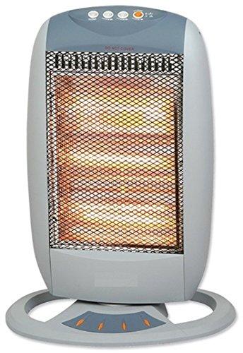 Heizstrahler | Wärmestrahler | zuschaltbare Drehfunktion | Elektro Heizung | Infrarotstrahler | Halogen Quarz Heizgerät | 3 Leistungsstufen | 400, 800 oder 1200 Watt | Oszillierend | Thermostat |