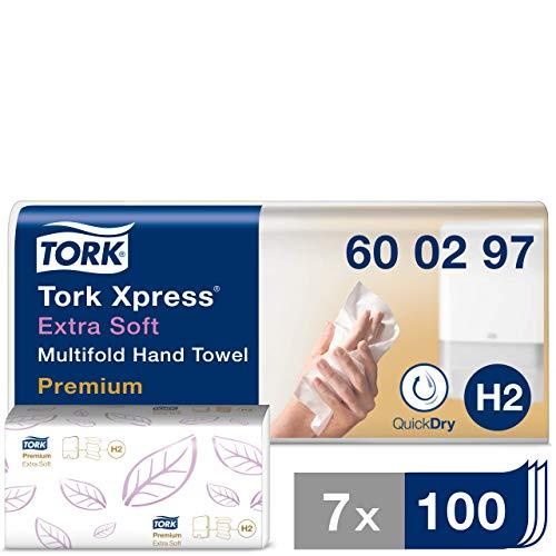 Tork 600297 Xpress extra weiche Multifold Handtücher Premium Weiß für Tork H2 Multifold-Systeme / Falthandtücher 2-lagig & saugstark / 7 x 100 Tücher (34 x 21.2 cm)