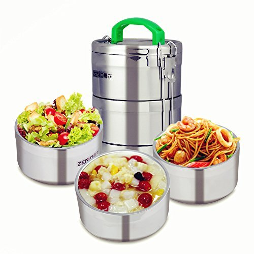 Lunch-Boxen Edelstahl Food Container-Stacking 3 Tier Vakuum Mittagessen Box/Food Carrier/Bento/Food Container/Taffin 2.4 l -