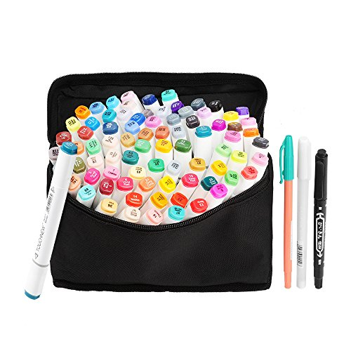 80 Set Farbe TOUCHNEW Marker Pen Set Zeichnung Gemälde Art Dual Tip Sketch Pen Kunst Sketch Twin Tip Design mit Tragetasche (Comic Auswahl) (80 Set, Weiß) -Lightwish