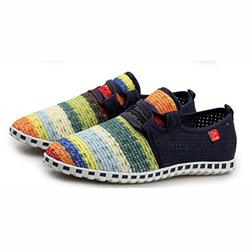 Unisex Popular Geometric Pattern Super Light Walking Shoes men dark blue
