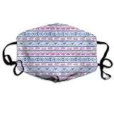 Boho Native American Cute Diamond Stripe Design Pink Blue and Purple Anti-dust Cotton Mouth Face Masks Reusable for Outdoor Half Face Masks