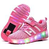Luces LED Coloridos Parpadeante Zapatos de Skate Zapatillas Calzado Deportes de Exterior Neutra Cordones Gimnástico Sneakers para Pequeños 28-42,Pink,28
