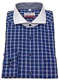 Marvelis Hemd Modern Fit Kontrastkragen Kariert Blau/weiß 7272 24 18, Größe 43