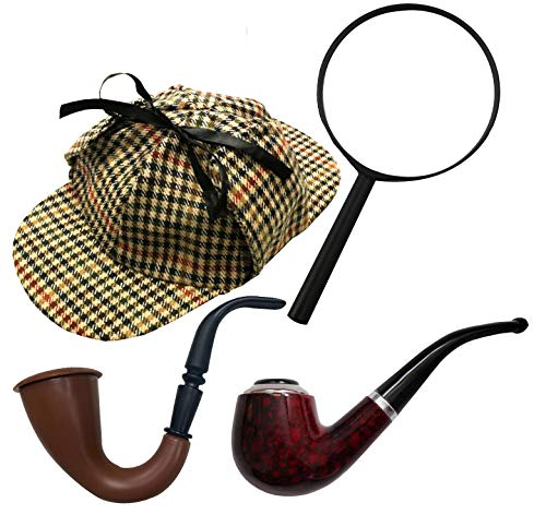 Deerstalker-Hut / Sherlock-Holmes-Mütze, Tweed-Optik, Kostümzubehör