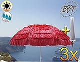 3x Premium XXL–Parasol avec étui, Hawaii style avec franges Rouge, extrêmement résistant aux intempéries, Pour Caraïbes vacances à la maison, dimensions: env. 160cm–180cm Robuste Parasol pour plage, jardin pique-nique Feu de Camp, parasol, XXL Housse Parasol, pliable, portable, seewasserfest, Haute Qualité Robuste stable, protection solaire, stable à rabat Écran, parasol de plage parasols, tables de parasol